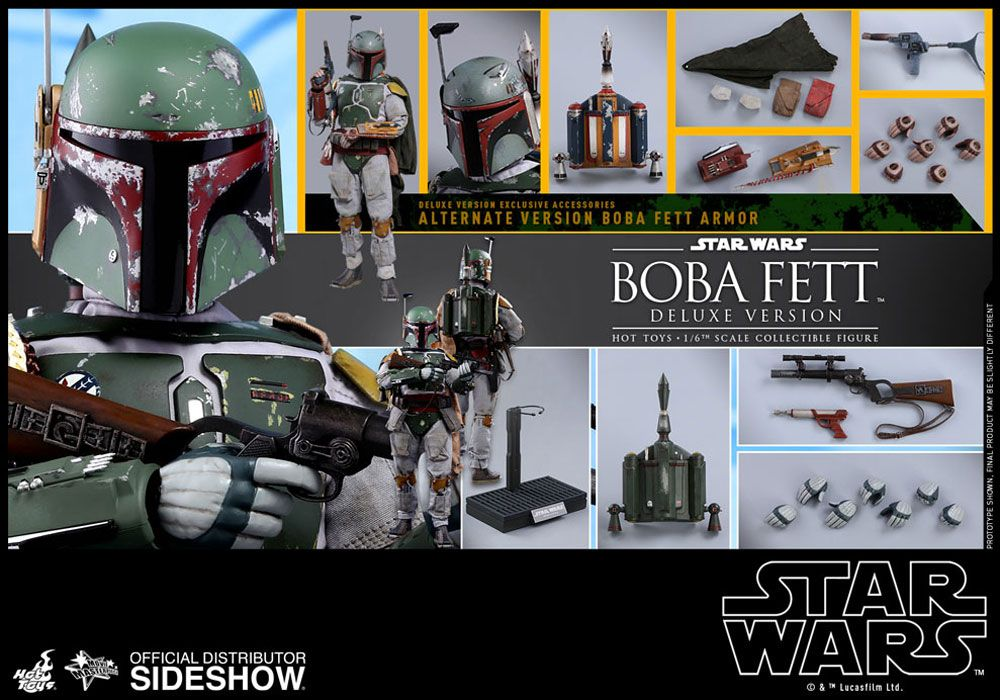 x4 Type 2 Boba Fett Grey Gloved Hand Set 1//6 scale toy Star Wars